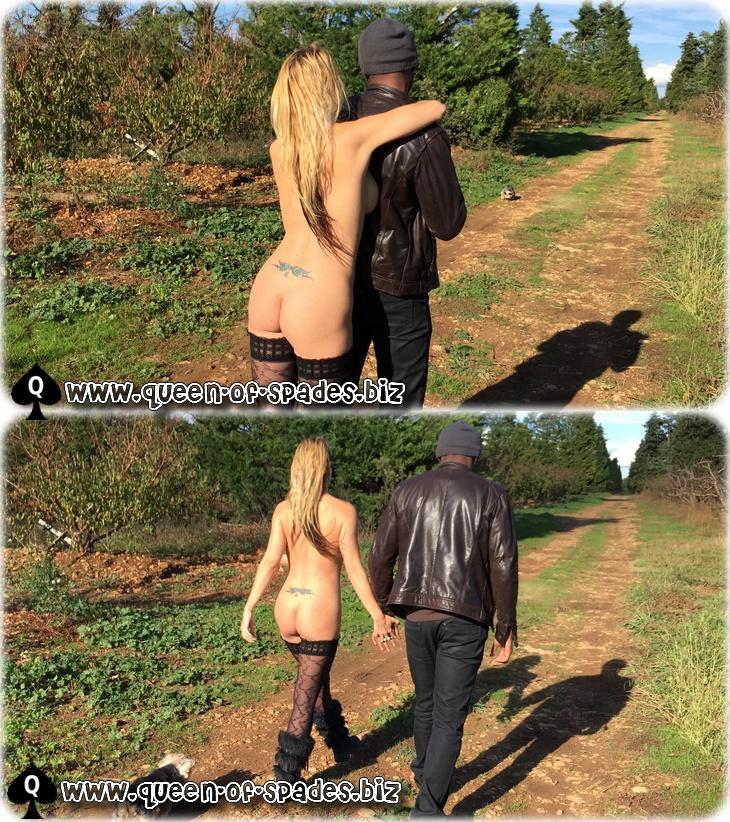 Ma femme nue se promenant avec son amant black